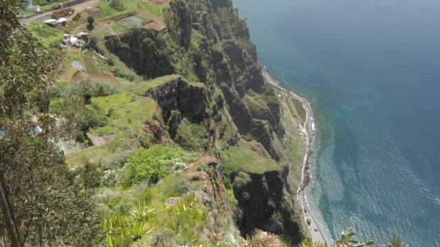 panoramic view of coastline and atlantic ocean from cabo girao, madeira, portugal, atlantic, europe - madeira stock videos and b-roll footage