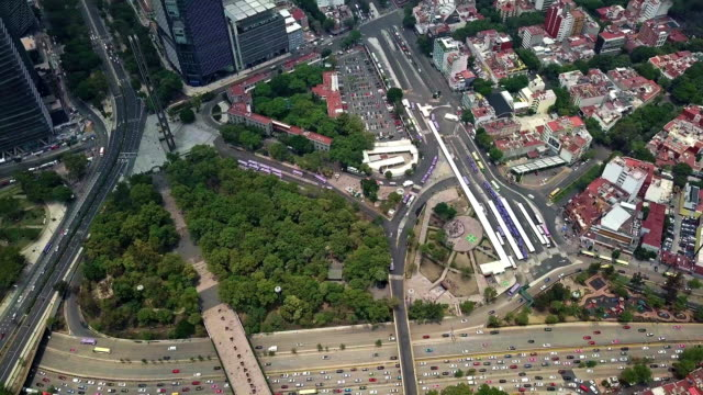 panoramic view of condesa, reforma and castillo de chapultepec - avenue stock videos & royalty-free footage