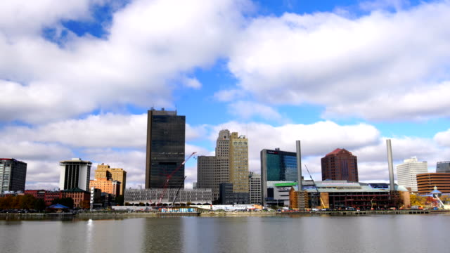 panoramic view of downtown toledo ohio's skyline from across the maumee river - ohio stock videos & royalty-free footage