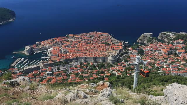 panoramic view of dubrovnik city, dalmatia coast, croatia. - mare adriatico video stock e b–roll