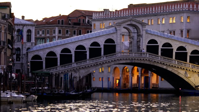 Panoramic view of famous Canal Grande from famous Rialto Bridge at sunset in Venice
