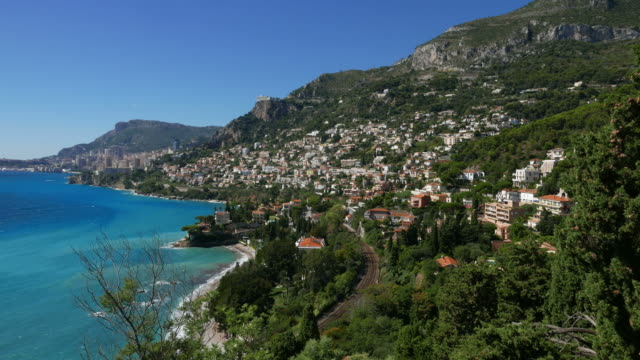 panoramic view of french riviera and monaco - promenade stock videos & royalty-free footage
