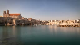 Panoramic view of Giovinazzo. Puglia. Italy. Time-lapse.