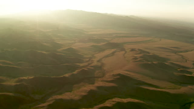 vidéos et rushes de panoramic view of green mountains. altai foothills at sunset. aerial view. mongolia - mongolie indépendante