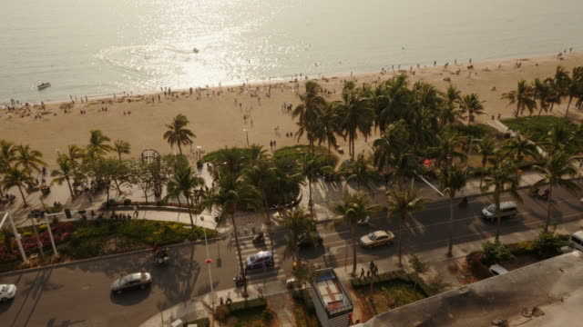 panoramic view of hai yue guang chang beach in sanya, hainan province, china. view from above. - spoonfilm stock-videos und b-roll-filmmaterial