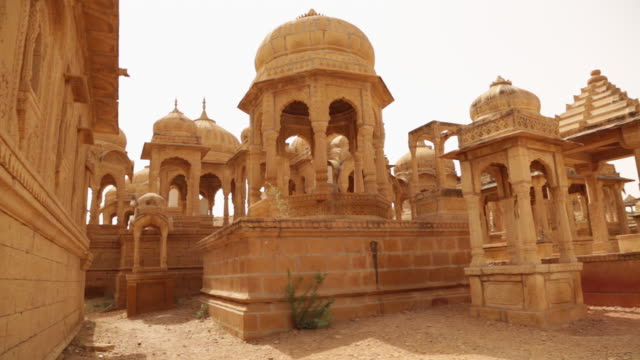 Panoramic view of historical buildings, Bada Bagh, Jaisalmer, Rajasthan, India