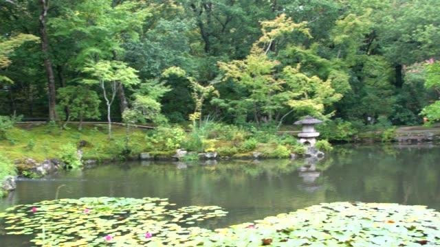 panoramic view of isuien garden in nara, japan - giardino pubblico giardino video stock e b–roll
