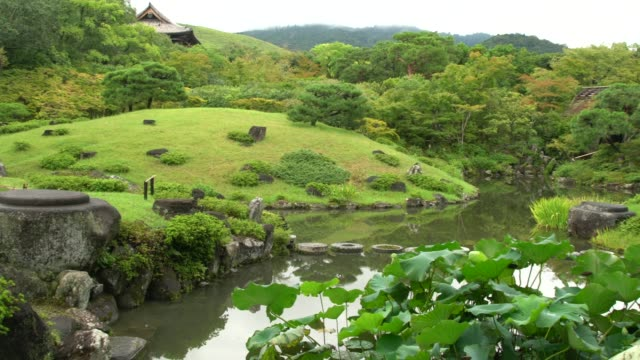 panoramic view of isuien garden in nara, japan - show garden stock videos & royalty-free footage