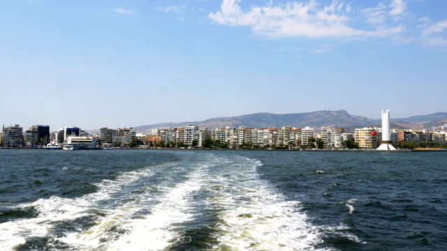 Panoramic view of Izmir city from ferry