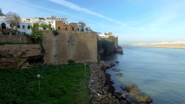 panoramic view of kasbah of the udayas in rabat - morocco - bay of water stock videos & royalty-free footage