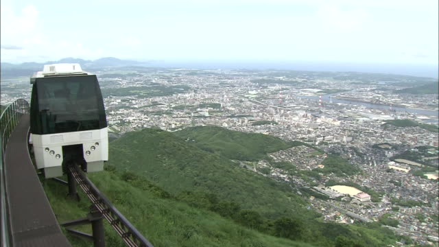 panoramic view of kitakyushu city with monorail - monorail stock videos and b-roll footage