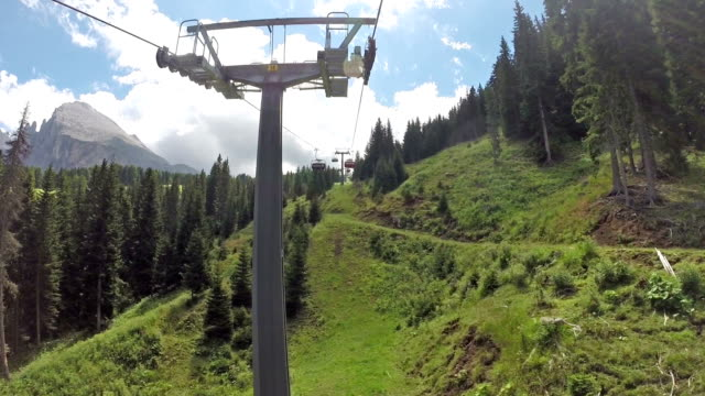 panoramic view of langkofel from chair-lift - scilia stock videos & royalty-free footage