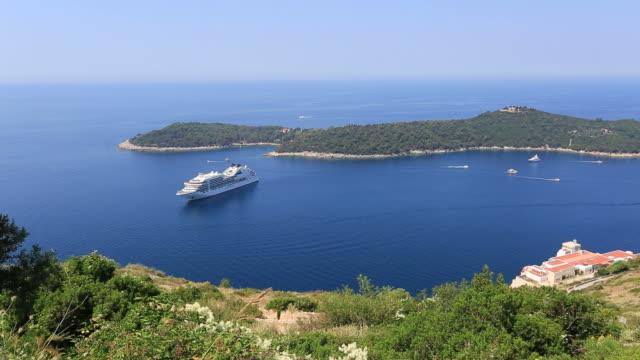 panoramic view of lokrum island, adriatic sea, dalmatia coast, croatia. - adriatic sea stock videos & royalty-free footage