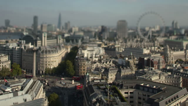 panoramic view of london skyline, including trafalgar square, nelson's column and the london eye, london, england - nelson's column stock videos & royalty-free footage