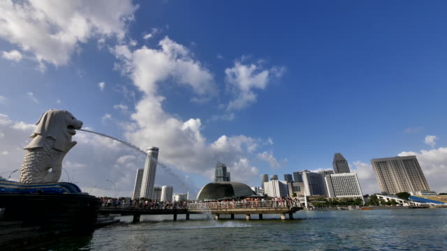 a panoramic view of merlion park - merlion fictional character stock videos and b-roll footage