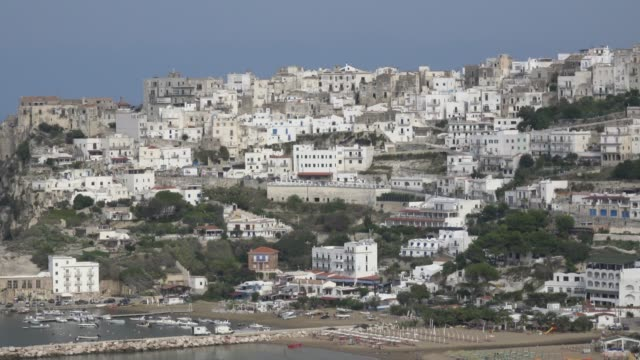 zo / panoramic view of old town of peschici - adriatic sea stock videos & royalty-free footage
