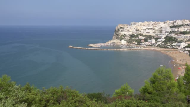 pan / panoramic view of old town of peschici - adriatic sea stock videos & royalty-free footage