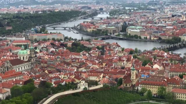 panoramic view of prague - prague stock videos & royalty-free footage