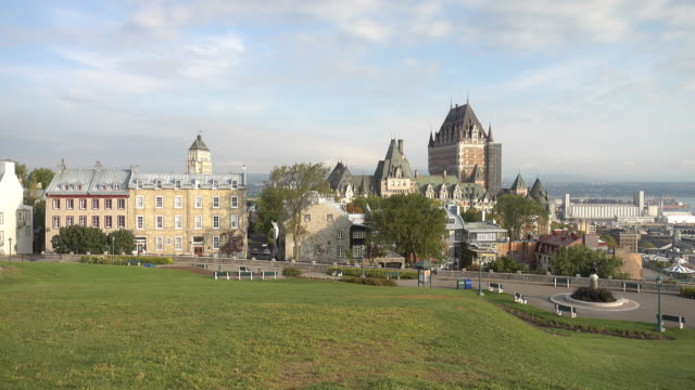 panoramic view of quebec city skyline with saint lawrence river - montréal stock videos & royalty-free footage