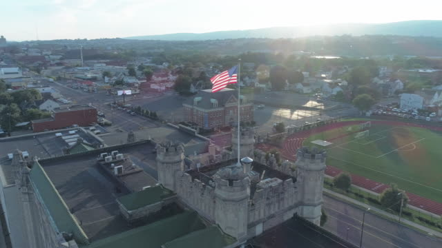 panoramic view of scranton at sunset. pennsylvania, usa. drone aerial video with the orbit and ascending camera motion. - ancient history stock videos & royalty-free footage