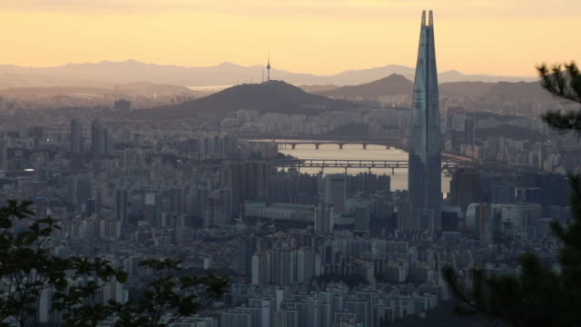 panoramic view of seoul,south korea - distant stock videos & royalty-free footage