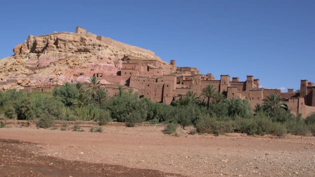 Panoramic view of the Aït Benhaddou, a great example of Moroccan earthen clay architecture in Saharan Morocco