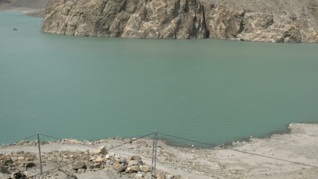 panoramic view of the attabad lake in hunza valley, northern pakistan - 2010 2019 stock videos & royalty-free footage