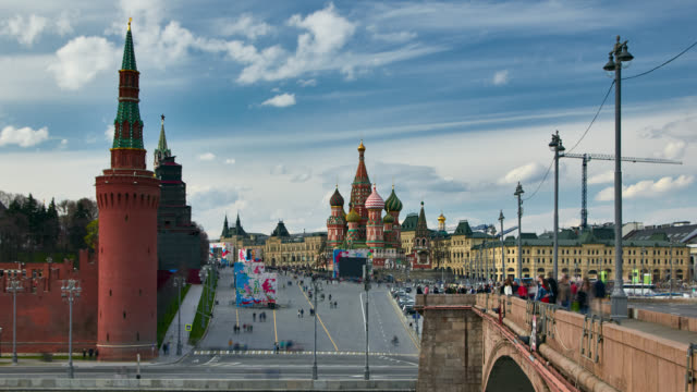 panoramic view of the moscow kremlin and red square on a sunny day. - st. basil's cathedral stock videos and b-roll footage
