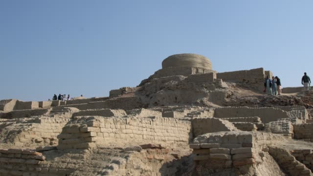 panoramic view of the ruins of ancient mohenjo daro in pakistan - archaeology stock videos & royalty-free footage