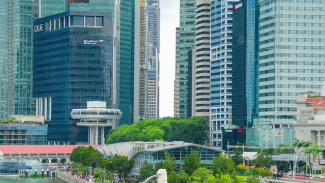 panoramic  view of the singapore skyline and marina bay, the marina - singapore flyer stock videos and b-roll footage