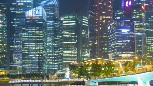 panoramic  view of the singapore skyline and marina bay - singapore river stock videos & royalty-free footage