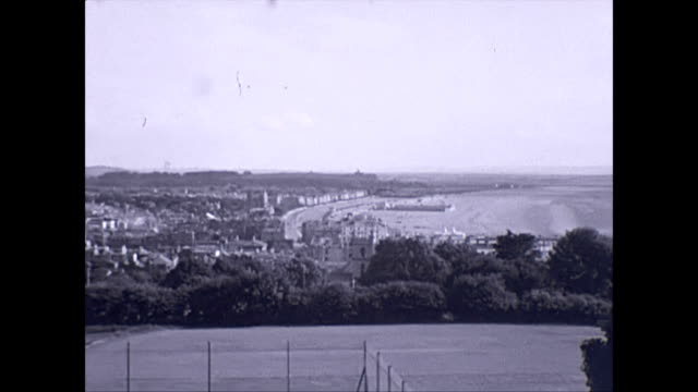 panoramic view of the somerset sea side town of weston-super-mare 1940s - 1940 1949 video stock e b–roll