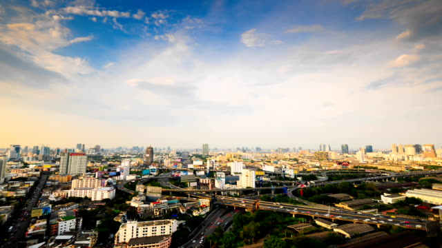 Panoramic view of urban landscape in Asia Time Lapse
