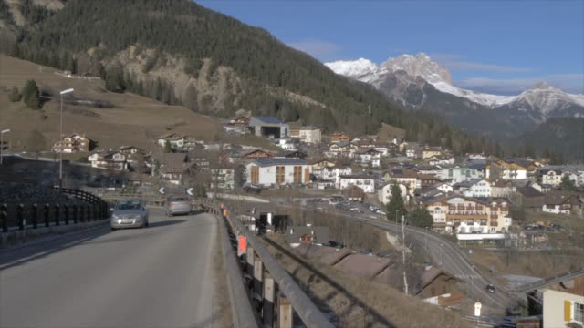panoramic view of val di fassa on sunny day in winter, province of trento, italian dolomites, italy, europe - val di fassa stock videos and b-roll footage