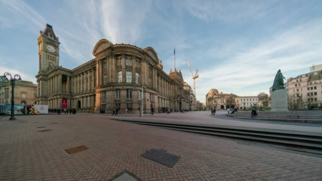 panoramic view of victoria square and council house, birmingham time-lapse - birmingham england stock videos & royalty-free footage