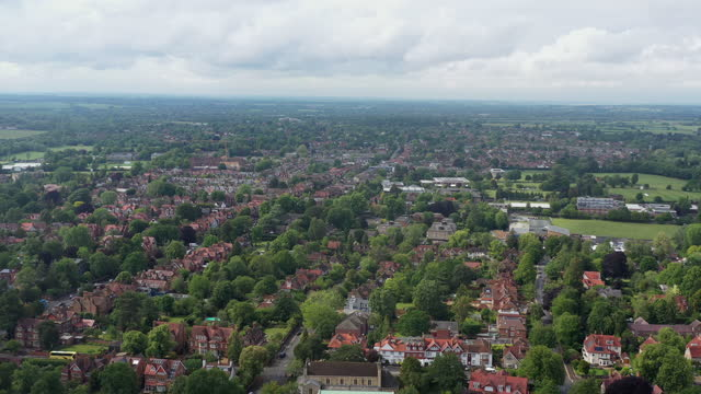 panoramic view of village / england - grove stock videos & royalty-free footage