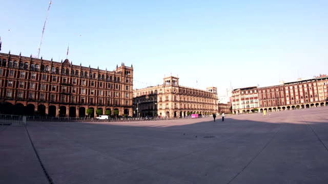 panoramic view of zocalo and cathedral - zocalo mexico city stock videos & royalty-free footage