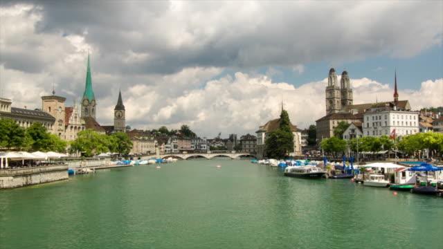 Panoramic view of Zurich, Switzerland. 4K Timelapse