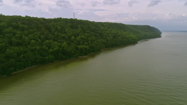 panoramic view on the small marina at hudson river and palisades park, new jersey. aerial drone video. - hudson river stock videos & royalty-free footage
