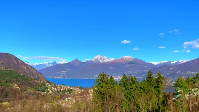 Panoramic View Over Lake Como and Snow-capped Mountain