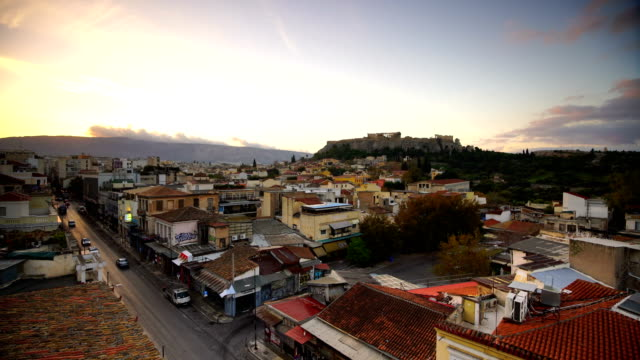 Panoramic view over the old town of Athens and the Parthenon Temple of the Acropolis