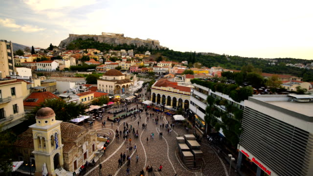panoramic view over the old town of athens and the parthenon temple of the acropolis - parthenon athens stock videos and b-roll footage