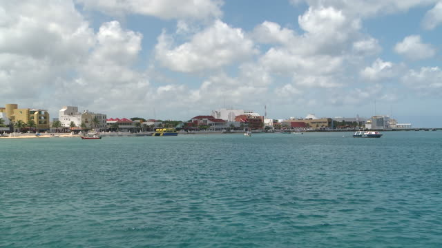 ws panoramic views of cozumel from the sea / cozumel, quintana roo, mexico - quintana roo stock videos and b-roll footage