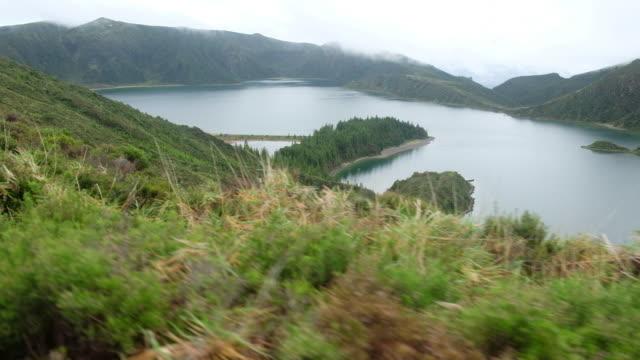 panoramic views of the lake on the island of san miguel - アゾレス諸島点の映像素材/bロール