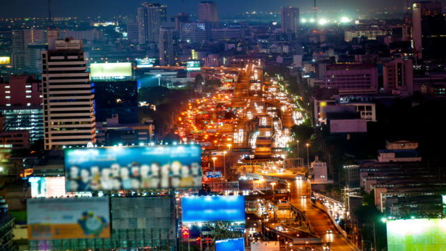Panoraminc view of urban landscape at night. Timelapse