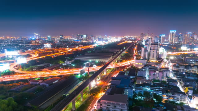 panoraminc view of urban landscape at night. timelapse - zoom out stock videos & royalty-free footage