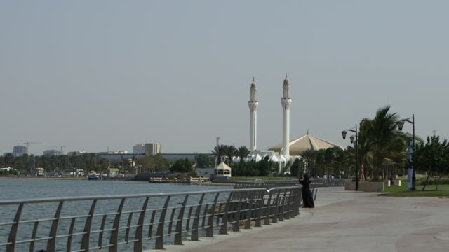 panright from the cornich and a mosque with two minaret to a park at dusk - red sea stock videos & royalty-free footage