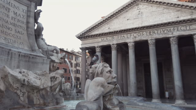 pantheon and fountain, rome, italy - temple building stock videos & royalty-free footage