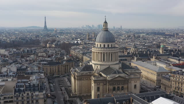 pantheon church in the 5th arrondissement of paris, drone aerial view - paris france stock-videos und b-roll-filmmaterial
