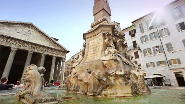 pantheon fountain in rome, panning video - pantheon rome stock videos and b-roll footage